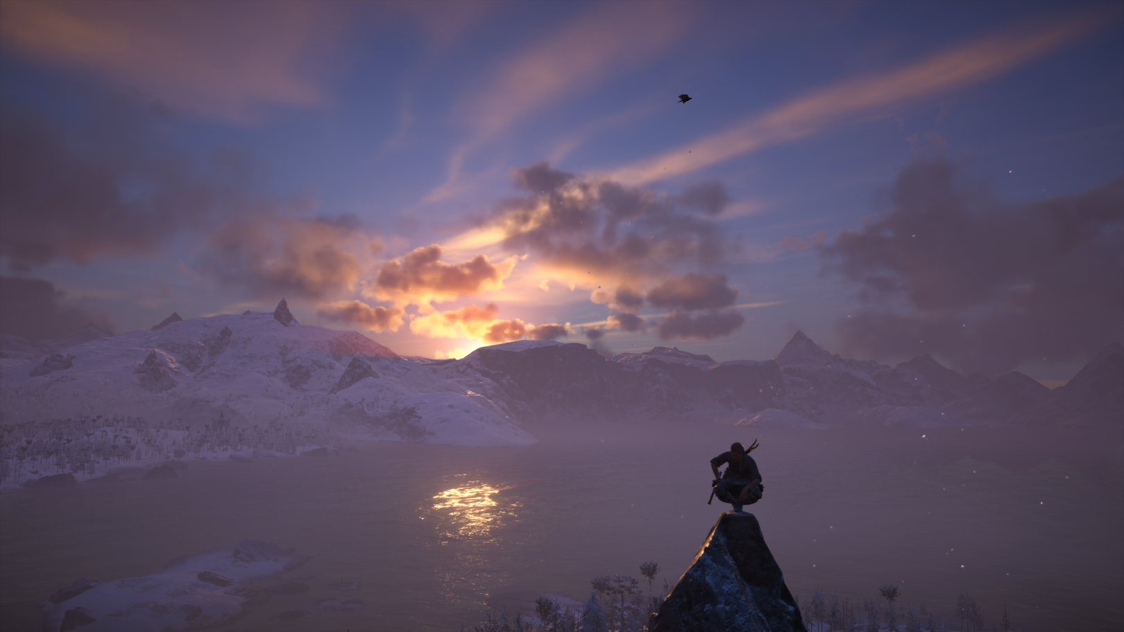 Sunset view from a mountain top in Assassin's Creed Valhalla