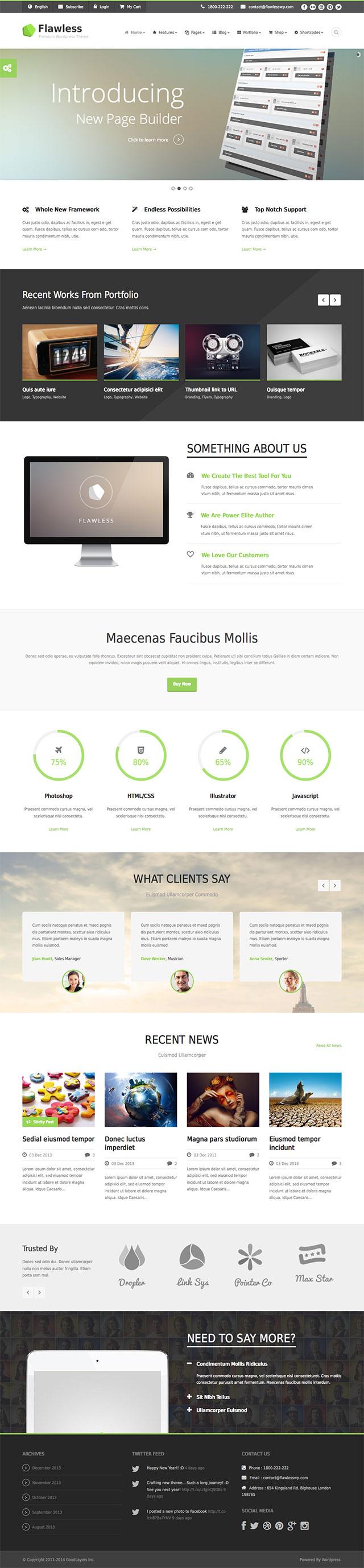 Moderne Webseiten für Firmen mit WordPress Theme Flawless