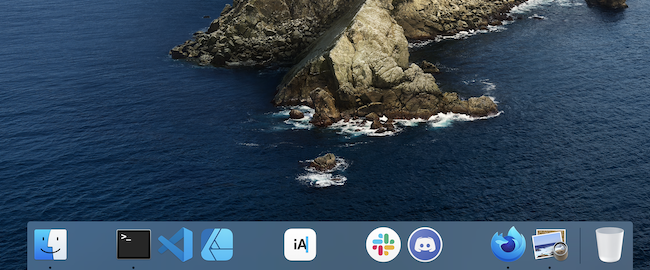 screenshot of my dock with spaces between icons