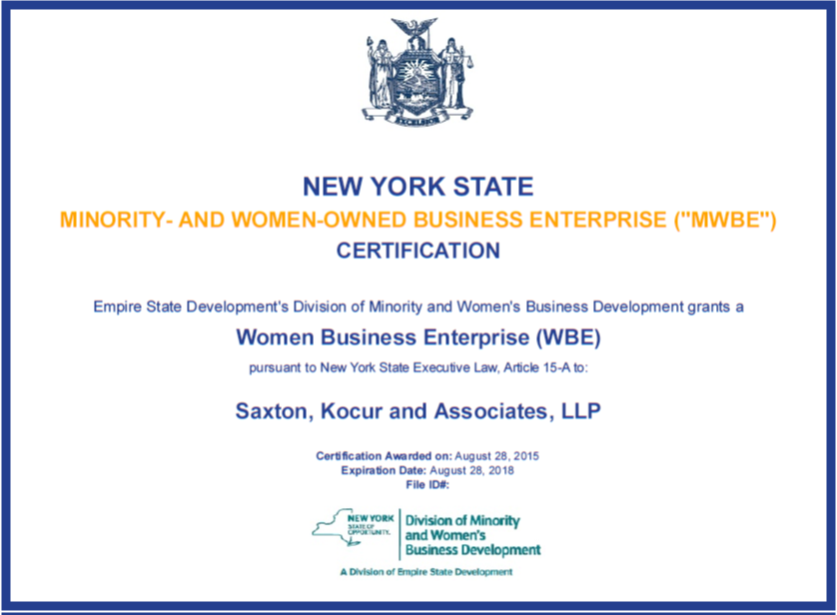 Saxton, Kocur is a proud New York State Women Business Enterprise (