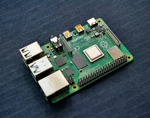 A Raspberry Pi 4, with no wires attached, viewed from above.