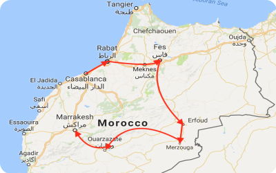 Jewish Tour of Morocco Map