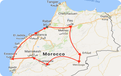 Majestic Morocco Tour Map