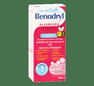 Children's Benadryl Liquid, 100 ml, Bubble gum – Benadryl