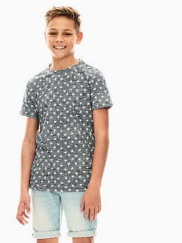 garcia t-shirt met allover print blauw ge030402