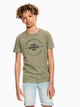 garcia t-shirt gestreept donkergroen ge030401