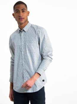 garcia overhemd met allover print h91226 wit-grijs