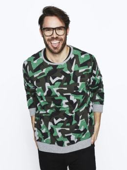 chief sweater met allover print pc010206 groen