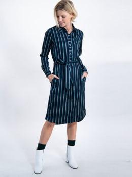 garcia gestreepte jurk j90282 blauw