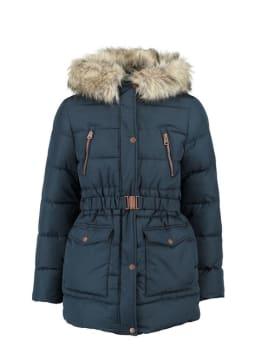garcia jas met imitatiebontkraag gj920803 donkerblauw