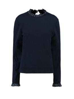garcia trui met ruffles h90243 donkerblauw