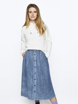 ltb midi rok denim blauw belonia
