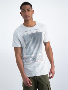 garcia t-shirt met fotoprint n01202-1464 grijs