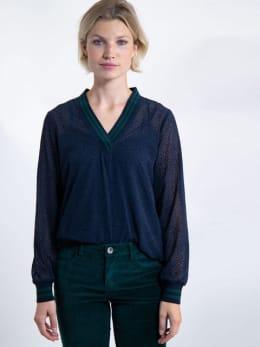garcia blouse met stipjes j90232 blauw