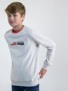 garcia sweater gemêleerd met opdruk n03660 grijs
