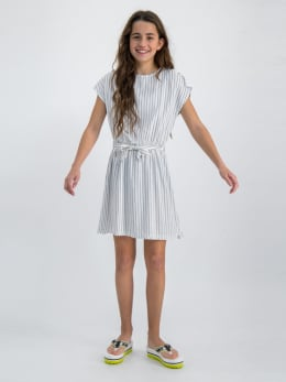 garcia jurk met verticale strepen o02485 wit