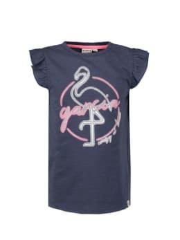 garcia t-shirt met ruffle mouwen n04405 blauw