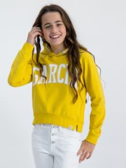 garcia hoodie met tekstopdruk gs020101 geel