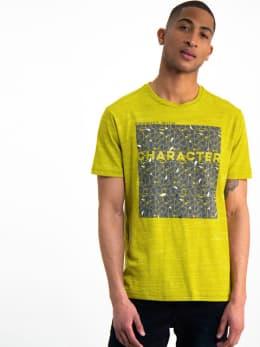 garcia t-shirt met opdruk h91208 groen-geel
