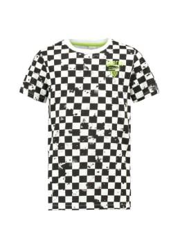garcia t-shirt e93402 geblokt wit