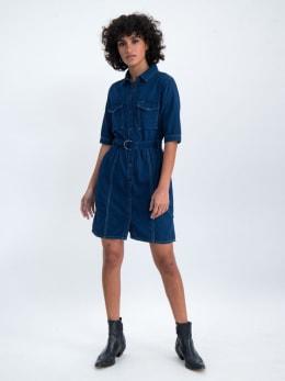 garcia indigo jurk n00285 blauw