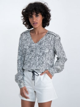 garcia blouse met allover stippenprint n00232 wit