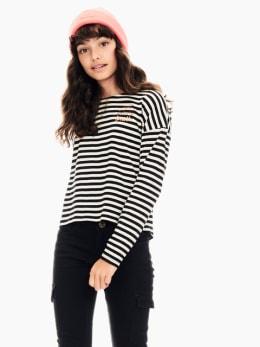 garcia t-shirt gestreept zwart t02605
