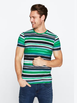 chief t-shirt gestreept pc010309 groen
