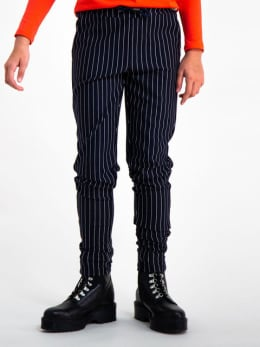 garcia gestreepte broek gs920730 zwart