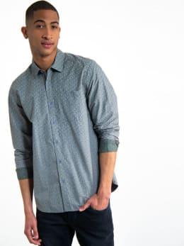 garcia overhemd met allover print h91225 grijs-groen