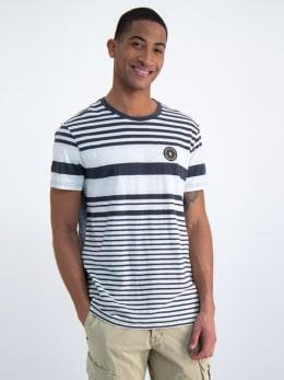 garcia gestreept t-shirt n01204 grijs