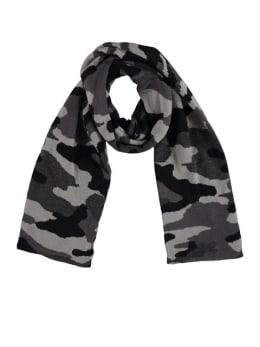 sarlini sjaal met legerprint zwart-grijs