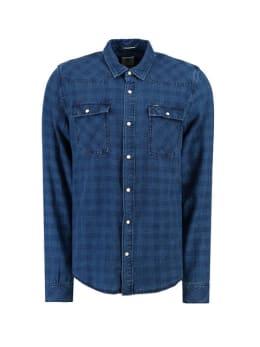 garcia overhemd met ruit print g91027 blauw