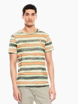 garcia t-shirt gestreept oranje p01203