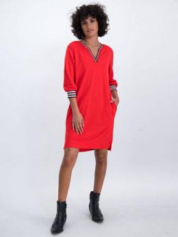 garcia jurk met gestreepte boorden n00281 rood