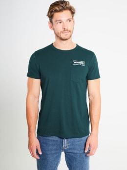 wrangler t-shirt w7a7fkg01 groen