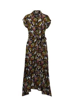 yezz midi jurk met allover print zwart py000804