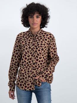 garcia blouse met allover panterprint n00230 bruin