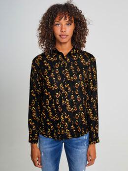 garcia blouse met print ge900901 zwart