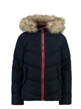 garcia puffer jas met bontkraag gj940801 blauw
