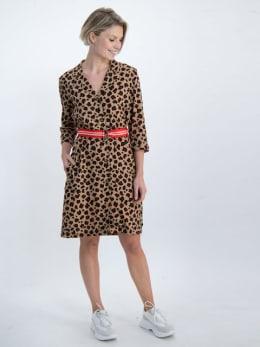 garcia blousejurk met panterprint n00282 bruin