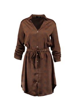 sisterspoint overhemd jurk met allover print bruin
