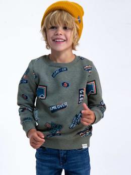 garcia trui met patchwork I95461 grijs