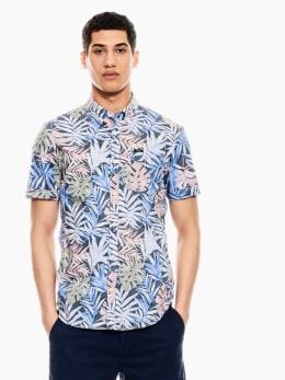 garcia overhemd met allover print donkerblauw q01034