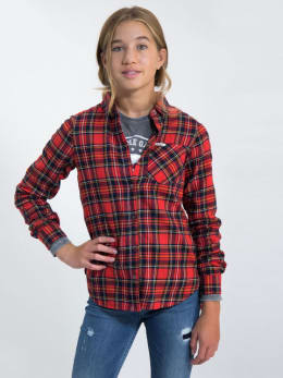 garcia geruite blouse j92631 rood