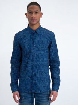 garcia overhemd met allover print m01031 blauw