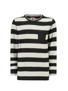 garcia shirt met lange mouw h93608 zwart-wit