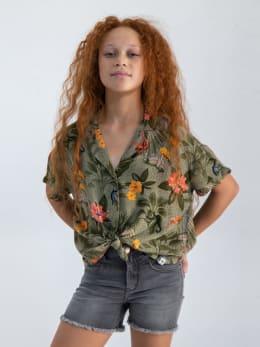 garcia blouse met hawaii print o02432 groen