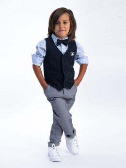 garcia pantalon met verstelbare waistband k95516 grijs