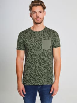 chief t-shirt met allover print pc910703 groen